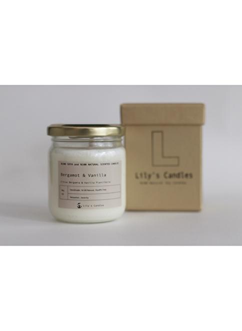 Lily's Candles Bergamut & Vanilya  Doğal Mum Beyaz